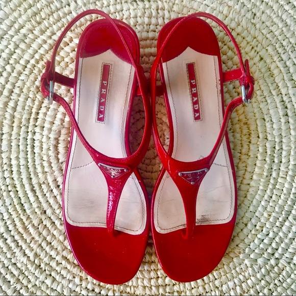 Prada Shoes - Prada Red Patent Wedge Sandals 1.5 inch Heel